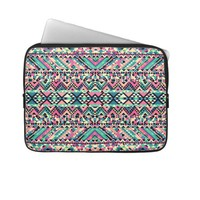 Pink Turquoise Girly Aztec Andes Tribal Pattern Laptop Computer Sleeves from Zazzle.com