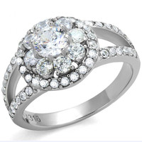 Dreamlover - .80 CT. Equivalent and Cubic Zirconia Floral Shaped Crystals Engagement Ring