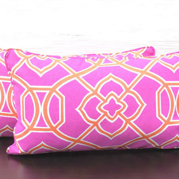 Hot pink pillow cover 21x11 pink sofa cushion bright pink lumbar, orange and pink nursey pillow, geometric orange pillow small pink lumbar