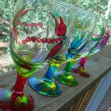 Set of 4 Dragonfly glasses wine tea goblets choose your colors