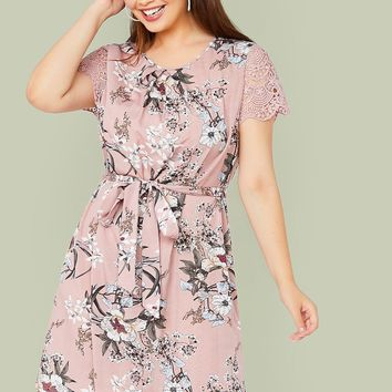 Plus Guipure Lace Sleeve Self Belted Floral Print Dress