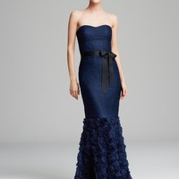 Boutique Gown - Strapless Sweetheart Neck with Ribbon Belt