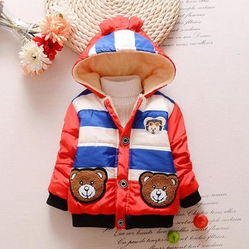 Baby Boys Jacket New Cartoon Bear Kids Autumn Warm Cotton Hoodies Infant Fur Lined Coat Children Casual Outerwear Clothing