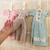 Creative lovely princess skirt dress hand towel cute Absorbent Cora kids bathroom towel with Hanging hook D15