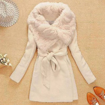 Light Camel Fur Collar Long Sleeve Coat