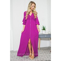 Front-Cut Opening Tiered Sleeve Dress