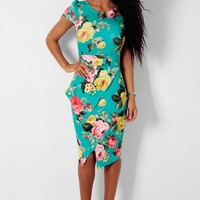 Oriental Charm Green Floral Peplum Midi Dress | Pink Boutique