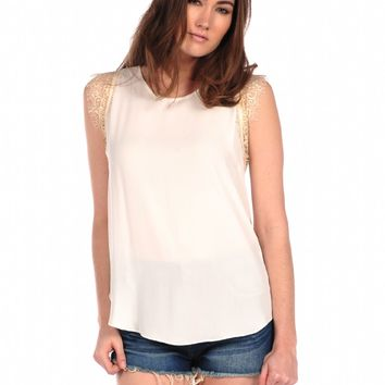 Veronica M Lace Trim Top