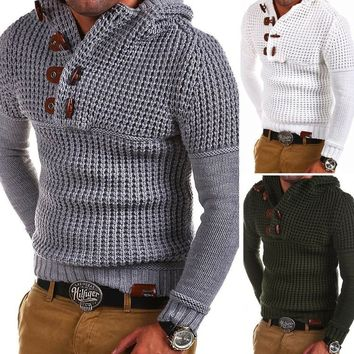 Men New Fashion Bodycon Casual Solid Color Buttons Knit Sweaters