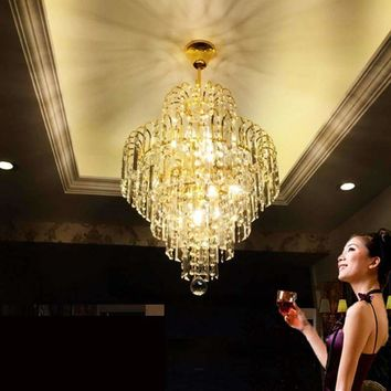 Z Modern Restaurant Crystal Chandelier Round European Style Design Balcony Entrance Hanging Lamp Stairs Ceiling Light Fixture