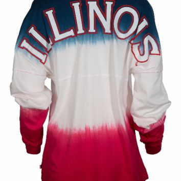 Official NCAA University of Illinois Fighting Illini U of I Women's Long Sleeve Ombre Spirit Wear Jersey T-Shirt