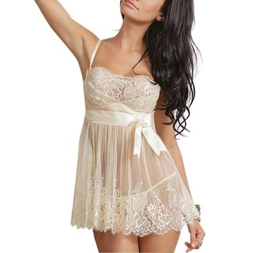 Women Perspective White Nightgown Nightskirt Sexy Summer Dress Bow Night Skirt G-string Set Lace Gown Nightwear