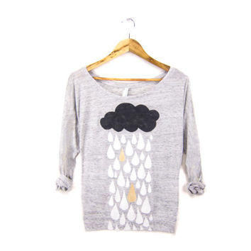 Rainstorm - Hand Stenciled Slouchy Women's Deep Scoop Neck Lightweight Sweatshirt in Heather Marl Grey & Metallic Gold - XS S M L XL 2XL