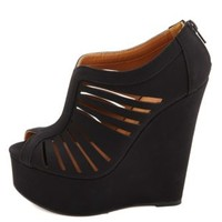 Qupid Laser-Cut Slit Peep Toe Platform Wedges - Black