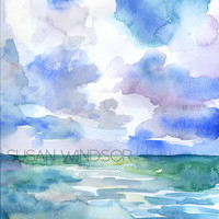 Abstract Ocean and Sky Watercolor Fine Art Print - Giclee Reproduction