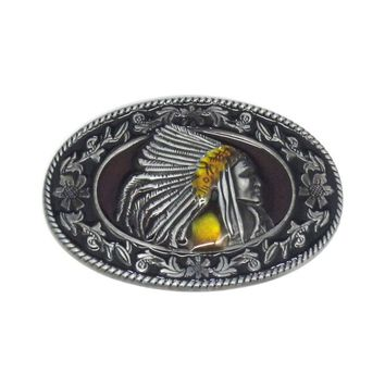 Antique Zinc Indian Chief Floral Flower Native American Western Motorcycle Belt Buckle Free Shipping