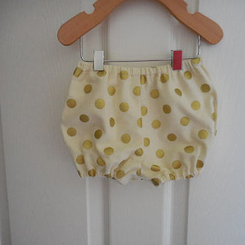 Ivory cream and gold polka dot soft flannel diaper cover bloomers