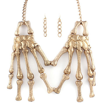Gold Skeleton Hands Necklace
