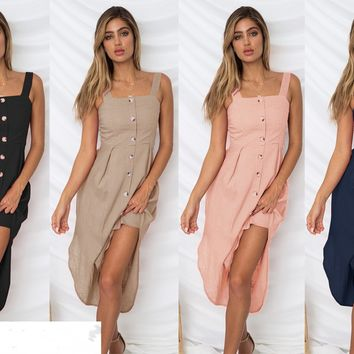 Women Strappy Single Breasted Button Casual Solid Color Summer Holiday Ladies Dresses Sleeveless Midi Dress Party Beach