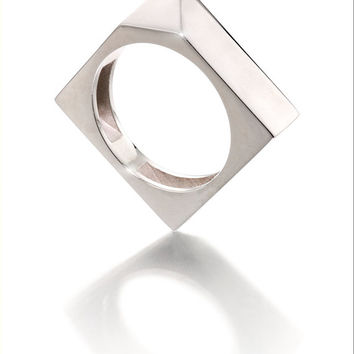 Honeycomb Dream ring, edgy square silver ring, with coloured enamel insertions on the inside.