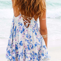 Flirty Friday Floral Boho Summer Tie Back Swing Dress
