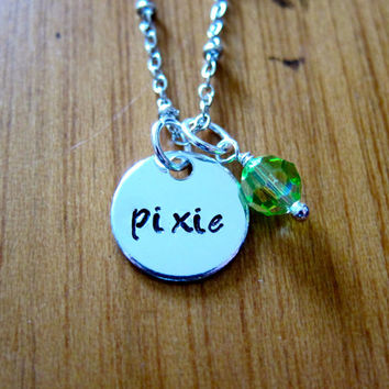 "Disney's ""Peter Pan"" Inspired Tinkerbell Pixie Fairy Necklace. Hand Stamped Charm Pendant, Swarovski Crystal for women or girls. 1/2"" charm."