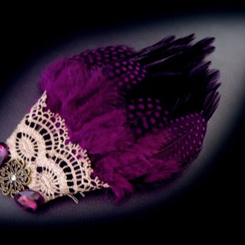 Purple feather hair comb, feather fascinator, purple hair jewelry, victorian hair piece, lace and feather, gypsy hair piece, OOAK