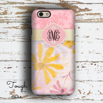 Monogram gifts for women, Floral iphone 6s case, Personalized Iphone 6 case, Pink iPhone 5c case, Girly Iphone 5 case, Grunge damask (9854)