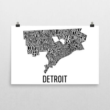 Detroit Neighborhood Typography Prints – Modern Map Art