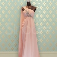 Buy Adorable Pink Rhinestones A-line One-shoulder Neckline Sweep Train Prom/Wedding Party Dress under 200-SinoAnt.com