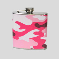 Stainless Steel Hip Flask with pink camo wrap - 4oz 6oz 2oz 1oz - camoflauge