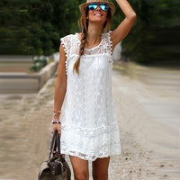 Women Ladies Boho Summer Evening Cocktail Party Lace Floral Mini Dress Sundress = 1932465540