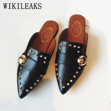 Leather Mules, shoes, Slip on loafers, Women's Flats rivets
