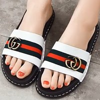 GUCCI 2018 summer new leather wear slippers slip slipper slippers white