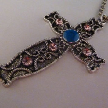Vintage Japanese Filigree Cross Pendant Necklace Silver Blue Enamel Pink Rhinestone Accent Beads Silver Rope Necklace Japan Costume Jewelry