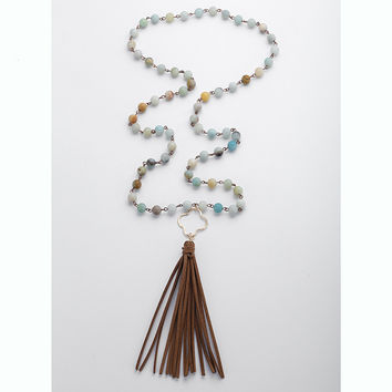 Fashion Amazonite Stones Rosary Chain Dia Plum Blossom Link Long Tassel Necklace Handmade Women Natural Stone Necklace
