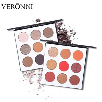 VERONNI Brand 9 Color Eyeshadow Makeup Palette Natural Matte Shimmer Warm Pigmented Pressed Eyes Shadow Powder Nude Eye Cosmetic