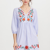 Blue Lantern Sleeve Button Front Embroidered Dress