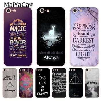 MaiYaCa Harry Potter always quotes Classic Phone Accessories Case for iPhone 8 7 6 6S Plus X 10 5 5S SE 5C case Coque