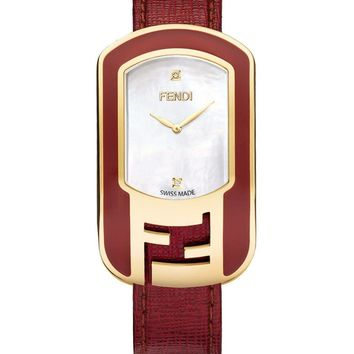 Red Gold-Tone Internal Monogram Watch by Fendi
