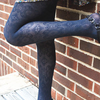 Moroccan Pattern Lace Tights Peacock Blue