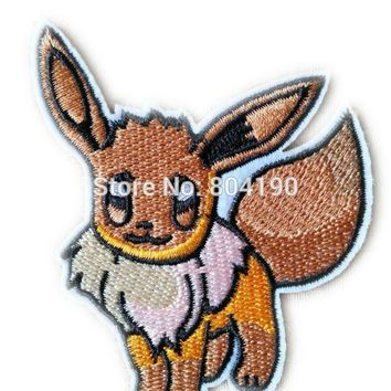 "3"" EEVEE  Go Iron On Patch Pikachu Pocket  Embroidered Emblem applique Costume Cosplay Team Rocket Scratch CatKawaii Pokemon go  AT_89_9"