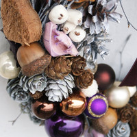 Christmas ornament wreath, Holiday Christmas Wreath, Purple and Cones decoration, Xmas wreath, Door decorations, Rustic christmas wreath