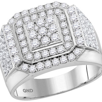 10kt White Gold Womens Round Diamond Double Frame Square Cluster Ring 2-1/2 Cttw 115270