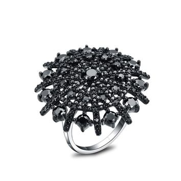 Black Spinel Ring Solid 925 Sterling Silver Female