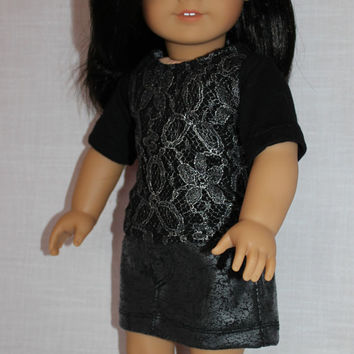 black tee with silver lace overlay, leather look grey skirt, 18 inch doll clothes, american girl, maplelea