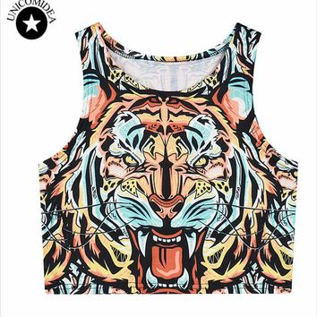 Women Short  Crop Top cute animal tiger cat lion printed Bustier Crop Tops  T Shirt Fitness Tank Top Cropped female