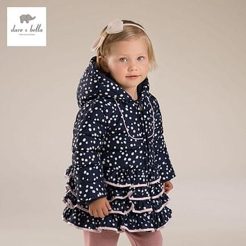 DB4275 DAVEBELLA baby girl floral jacket children winter outerwear kids padding jacket with ruffle