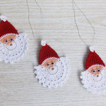 Crochet Santa Claus Face, Crochet Christmas Ornament, Handmade Christmas Applique