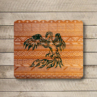 PHOENIX Aztec Tribal Wooden Grave Mouse Pad Art Drawing Bird Work Office Desk Deco MousePad Painting Gift Personalized Computer Accessory